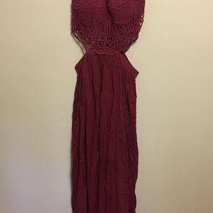 Fashion Nova Dresses - Fashion Nova Andromeda halter dress WINE L maxi